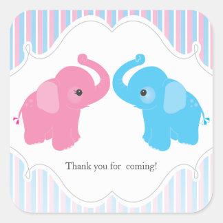 Twin Boy & Girl Elephant Baby Shower Favour Sticke Stickers