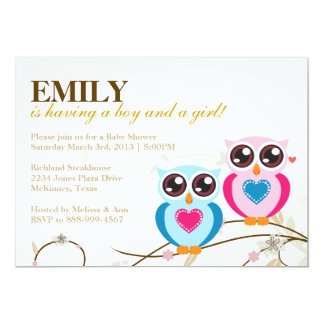 Twin Boy & Girl Owls Baby Shower Invitation