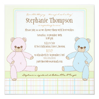 Twin Boy Girl Teddy Bears Baby Shower Invitation