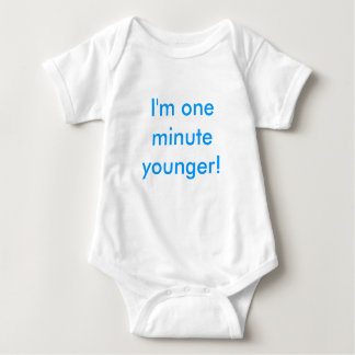 Twin boy I'm one minute younger! Baby Bodysuit