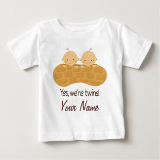 Twin Boy Personalized Babies In A Peanut Baby T-Shirt
