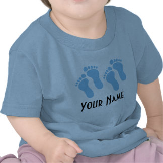 Twin Boy Personalized Baby Footprints T Shirts