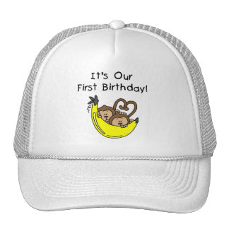 Twin Boys 1st Birthday Monkey Tshirts and Gifts Cap