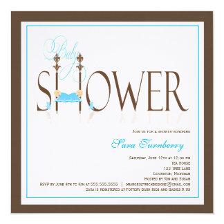 Twin Boys Baby Shower Invitation - Sleeping Babies