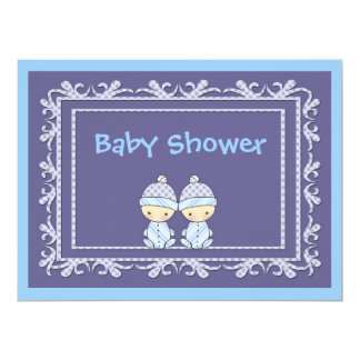 Twin Boys Baby Shower Invite Blue