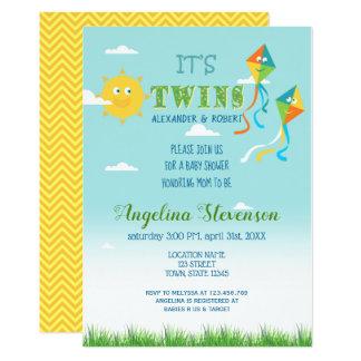 Twin Boys Baby Shower Sun Kite Spring Summer Sun Card