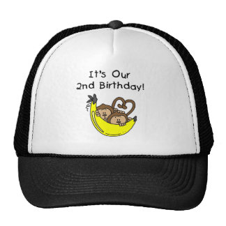 Twin Boys Banana Monkey 2nd Birthday Cap