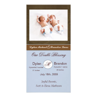 Twin Boys Birth Announcement Card