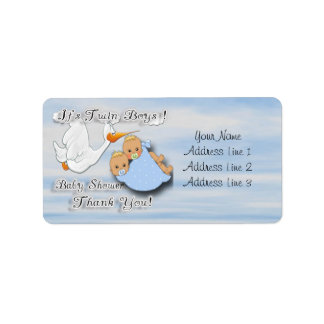 Twin Boys Blonde Baby Shower Thank you label Address Label
