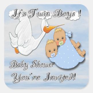 Twin Boys Blonde - Stork Baby Shower envelope seal Square Sticker