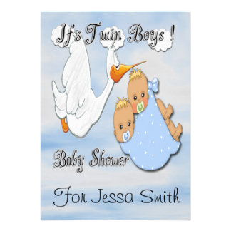 Twin Boys Blonde - Stork Baby Shower Invitations