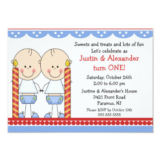 Twin Boys First Birthday 13 Cm X 18 Cm Invitation Card
