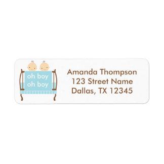 Twin Boys in Blue Crib Return Address Label
