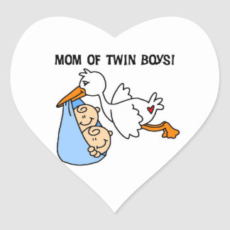 Twin Boys Mom Stork Gifts Heart Stickers