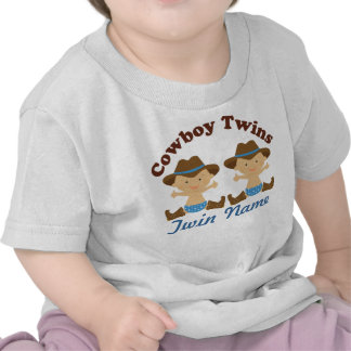 Twin Boys Personalized Cowboy Baby T-shirt