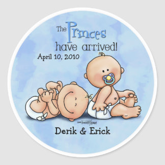 Twin Boys - Royal Princes Round Sticker