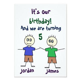 Twin Boys Stick Figures Cute Birthday Invitation
