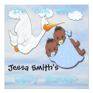 Twin Boys - Stork B Baby Shower Invitations