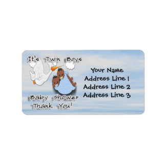 Twin Boys - Stork B Baby Shower Thank you Address Address Label