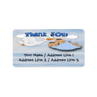 Twin Boys - Stork Baby Shower Thank you Address Address Label