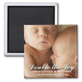 Twin Boys Sweet Photo Announcement Magnet