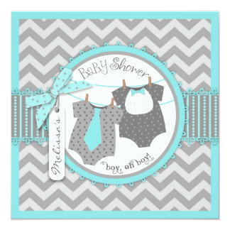 Twin Boys Tie Bow Tie Chevron Print Baby Shower 13 Cm X 13 Cm Square Invitation Card