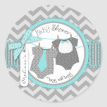 Twin Boys Tie Bow Tie Chevron Print Baby Shower Round Stickers