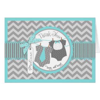 Twin Boys Tie Bow Tie Chevron Print Thank You Card