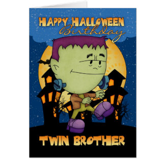 twin brother birthday halloween card with cute fra