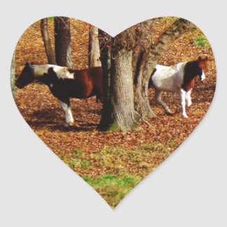 Twin Brown and White Horses Sticker