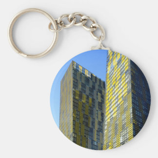 Twin Buildings on the Vegas Strip Basic Round Button Key Ring