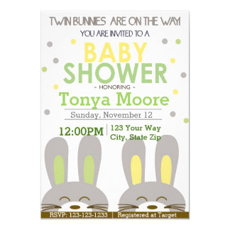 Twin Bunny Baby Shower Invitation (boys)