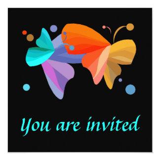 "Twin Butterflies Invitations 5.25"" Square Invitation Card"