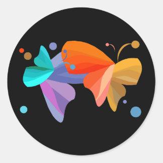 Twin Butterflies Round Sticker