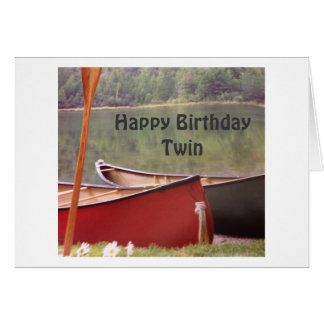 TWIN CANOES FOR TWIN BIRTHDAY CELEBRATION CARD