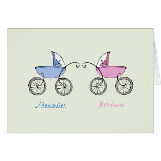 Twin Carriages Photo Birth Announcement Card