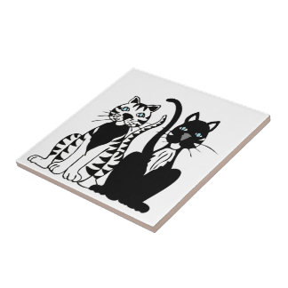 Twin Cartoon Cats Small Square Tile