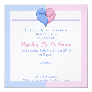 Twin Doves Heart Baby Shower Invitation
