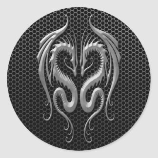 Twin Dragons with Steel Mesh Effect Round Sticker