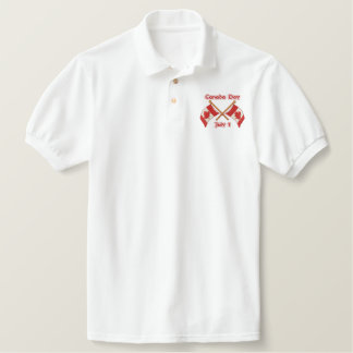 Twin Flags Canada Embroidered Polo Shirt