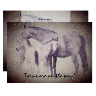 Twin Foals in Snow Horse Baby Shower Invitation