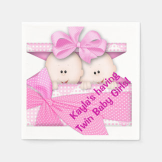 Twin Girl Baby Shower Paper Napkins Disposable Napkin