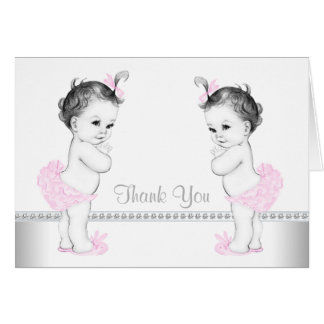 Twin Girl Baby Shower Thank You Card