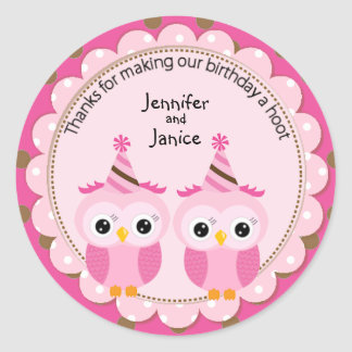 Twin Girl Pink Owls Birthday Thank You Round Sticker