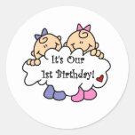 Twin Girls 1st  Birthday Tshirts and Gifts Round Sticker
