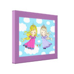 Twin Girls Art for Kids Room Wrapped Canvas Print