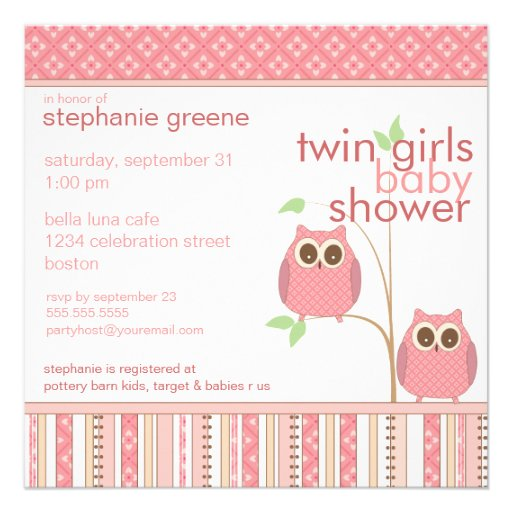 Twin Girls Baby Owl PInk Baby Shower Personalized Invites