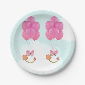 Twin Girls Baby Shower 7 Inch Paper Plate