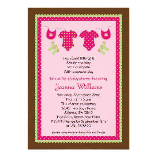Twin Girls Baby Shower Invitation