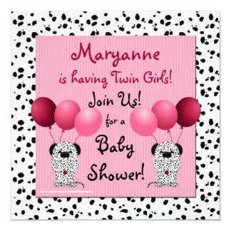Twin Girls Baby Shower Invitation Pink Dalmatian